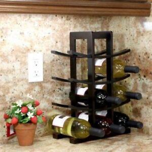 Details about Wine Rack Bottle Holder Alcohol Tabletop Wood Bamboo Beer Bar  Kitchen Glass Home