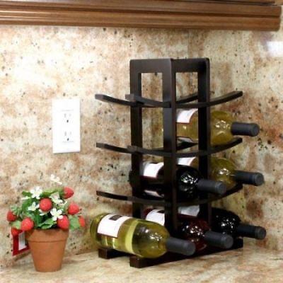 Bamboo Brown 10 Bottle Decorative Tabletop Wine Bottle Holder Kaydian Koncepts Countertop Wine Rack