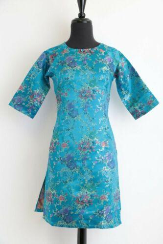 Ao Dai Vietnam Sm-2X Turquoise Jacquard w Multi Color Flowers Cach Tan,
