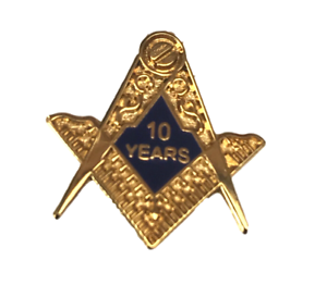 Details about Masonic Crest 10 Years A Mason Gold Plated Enamel Lapel Pin  Badge