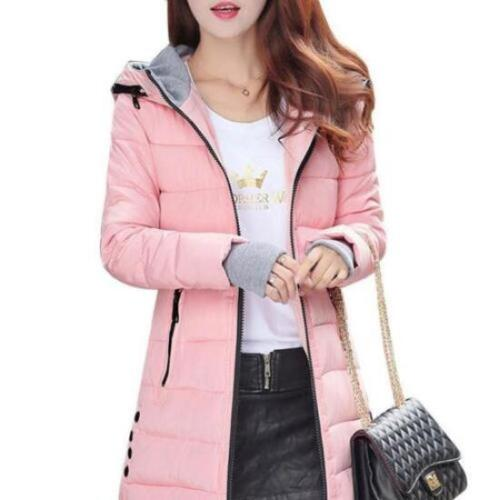 Winter Women Down Cotton Parka Long Collar Hooded Coat Jacket Outerwear