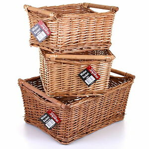 Image Is Loading Wicker Storage Basket With Handles Traditional Gift Hamper