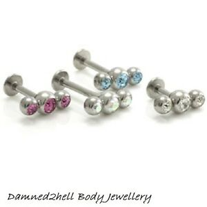 STEEL-LABRET-TRAGUS-STUD-WITH-TRIPLE-3-GEM-BALL-TOP-1-2mm-16g