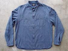 RRL Double RL Ralph Lauren Indigo Stripe Shirt Size L Navy Denim Western