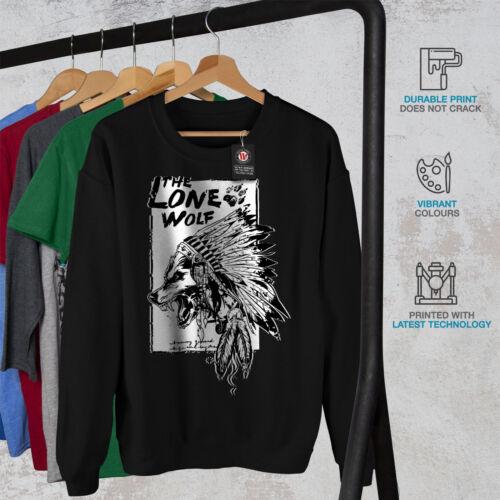 Wellcoda The Lone Wolf Indian Mens Sweatshirt Wild Casual Pullover Jumper