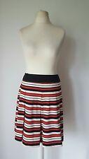 TU Red Cream Black Striped Pleated Skirt Size 16