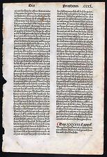 INKUNABELBLATT aus der 9. Deutschen Bibel 1483 Blatt CCCL - Original!!