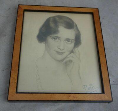 Altes Portrait Zeichnung 1928 Art Deco