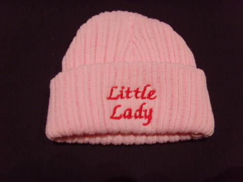 Bébé tricot laine brodé personnalisé chapeau avec disant little lady