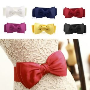 Fashion Women Elastic Wide Stretch Buckle Bowknot Bow Waistband Waist Belt E