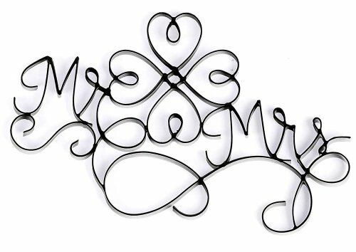 Mr And Mrs Metal Black 10 X 16 Wire Wall Sign Plaque