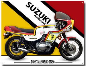 "1978 SUZUKI GS750 PAUL DUNSTALL METAL SIGN.CLASSIC SUZUKI MOTORCYCLES 12/"" X 16/"""