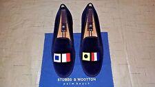 """NEW! Men's $495 Stubbs & Wootton Blue Velvet """"NAUTIGRAM"""" Slippers Loafers Shoe"""