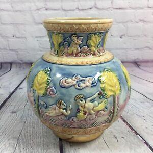 Vintage-Ceramic-Vase-Japan-Embossed-Hand-Painted-7-034-Tall-Angels-Trees