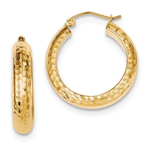 .925 Sterling Silver 25 MM Gold Plated Diamond-Cut Hoop Earrings MSRP $76