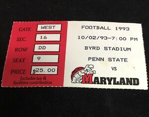 PENN-STATE-VS-MARYLAND-FOOTBALL-TICKET-STUB-10-2-93-Byrd-Stadium