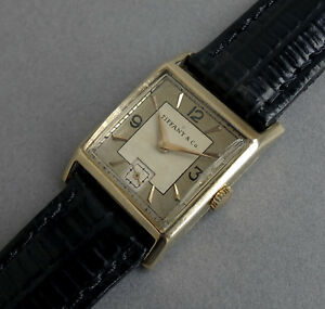 Tiffany-Jaeger-LeCoultre-14k-Solid-Gold-Art-Deco-gents-vintage-watch-1945