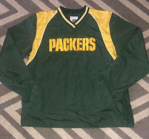 NFL Green Bay Packers Pullover Windbreaker Jacket Size L Football Green
