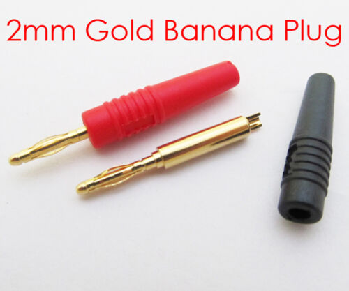 2pcs 2 Colors High quality 2mm Gold Mini Banana Plug Male Audio Adapter US