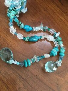 Natural Stone Turquoise, Quartz Freshwater Pearl, Crystal Long Necklace