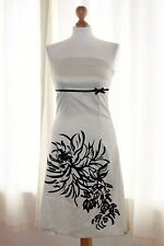 Jane Norman White Black Bow Satin Strapless Party Prom Occasion Dress sz 10 12