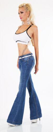 34 Schlaghose Flarecut Jeans Weiter Hose Damen Schlag Bootcut 42 Gürtel xw4CHC8qX