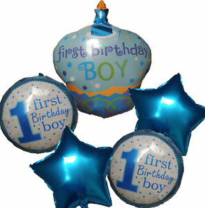 Fine 1St First Birthday Boy Cake Number 1 One Balloon Prince Party Personalised Birthday Cards Veneteletsinfo