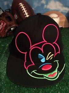 Disney-rara-Mickey-Mouse-Snap-Back-Sombrero-Gorra-Ajustable-H41
