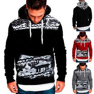 Herren-Weihnachten-Elch-Kapuzenpullover-Sweatshirt-Pullover-Pulli-Hooded-Sweater