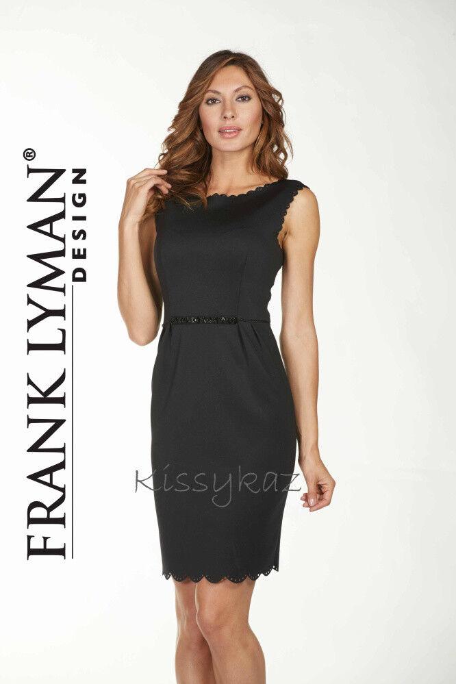 FRANK LYMAN Little schwarz Dress with Beaded Waistline&  Laser Cut Trim 10 12 BNWT