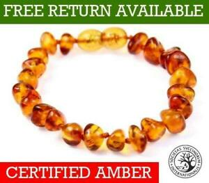 Genuine-Baltic-Amber-Small-to-Large-Bracelet-Anklet-Knotted-Beads-Sizes-11-27-cm