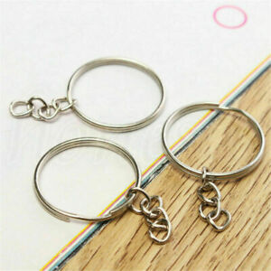 50X DIY 25mm Polished Silver Keyring Keychain Split Ring Short Chain Key Rings