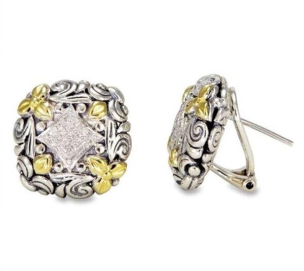 C01 Ohrringe Versilbert Quadrat Mit Jugenstil Ornamenten Teils Goldfarben
