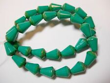 15 Czech Glass Turquoise Picasso Faceted Teardrop Beads 8x5mm