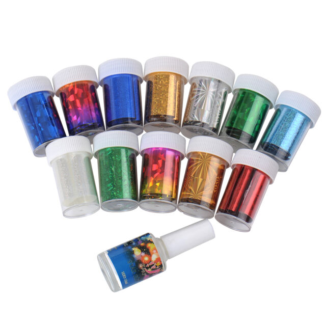 12 Colors Nail Sheet Art Transfer Foil Sticker for Nail Tips Decoration Glue Set