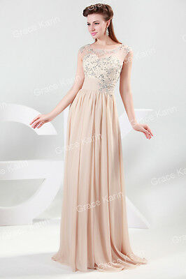 2016 BEADING Long Chiffon Evening Formal Party Ball Gown Prom Bridesmaid Dress