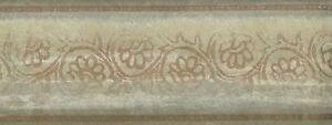 Wallpaper-Border-Green-Cream-amp-Tan-Leaf-Scroll-On-Faux