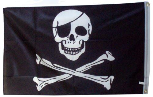 """Pirates Jolly Roger Skull /& Cross Bones Black /& White Flag Large 5 x 3/"""""""