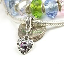 Birthstone Color Charm Dangle Large Hole Slider Bead for European Charm Bracelet