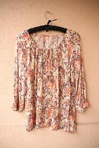 Helles-weites-Shirt-mit-floralem-Muster-und-Schleife-3-4-Arm-ca-Gr-XL