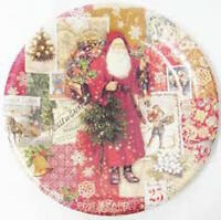Punch Studio Christmas Victorian Paper Dinner Plates 8 Count 10 1/2 Diameter