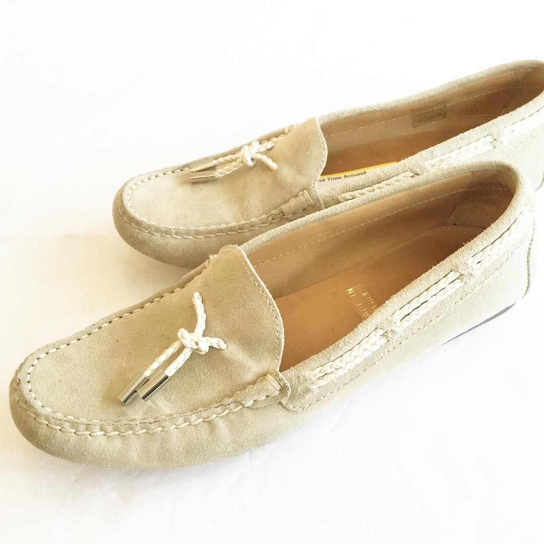 Gilardini Firenze Tan Suede Loafer with White Rope  size 38