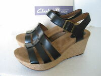 NEW CLARKS CASLYNN HARP BLACK LEATHER WEDGE SANDALS VARIOUS SIZES  D fit