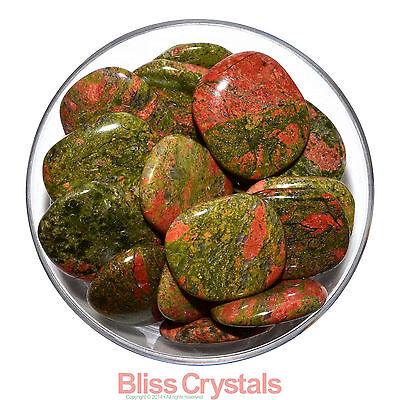 "1 (One) Jumbo UNAKITE Tumbled Palm Stone 1.7"" - 1.9"" Healing Crystal Recovery"