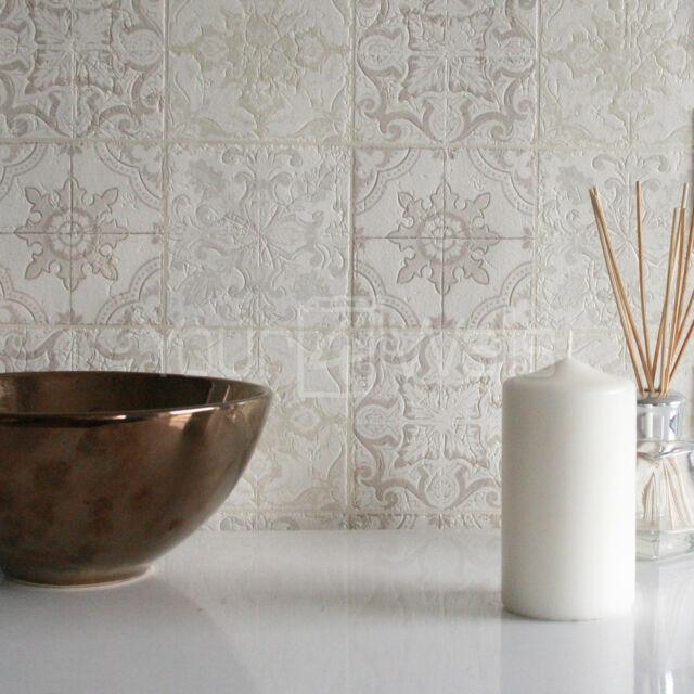 'Moroccan Tile' Geometric Tile Effect Wallpaper in Grey, Beige, Cream White