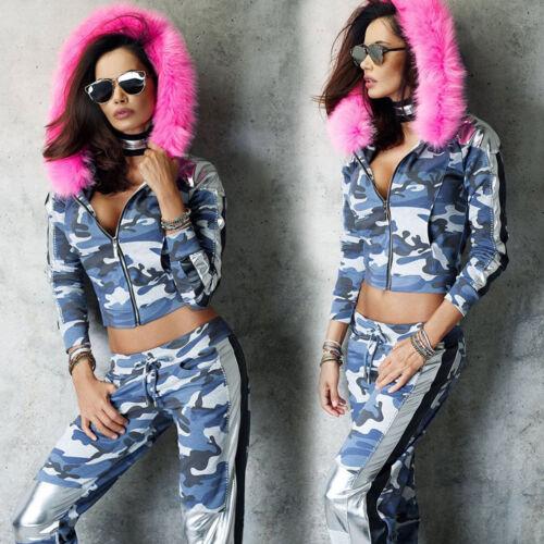 By Alina Femmes 2-Diviseurs Capuche Veste Pantalon Jogging Pantalon De Loisirs Costume XS-M