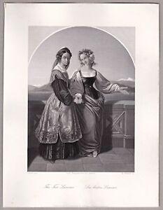 Konvolut-4-Stahlstiche-von-W-French-1870-Thema-Frauen
