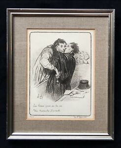 Antique-Wall-Art-Daumier-1808-1879-Jours-De-La-Vie-Framed-Lithograph-9-500