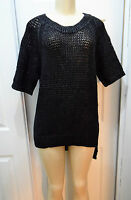 W By Worth Solid Black Cotton Blend Chunky Knit Short Sleeve Top Size M