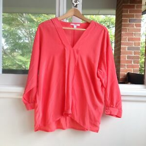 Trenery-Coral-v-Neck-Long-Sleeve-Button-Down-Shirt-Blouse-XL